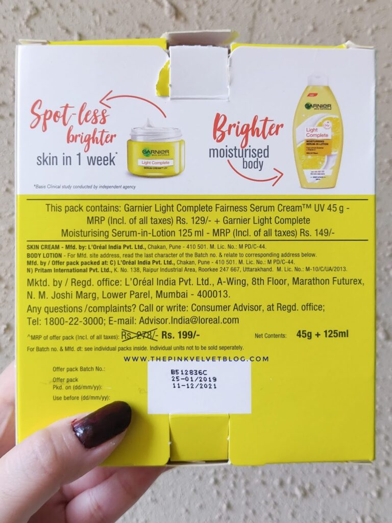 Garnier Light Complete Body Lotion Ingredients